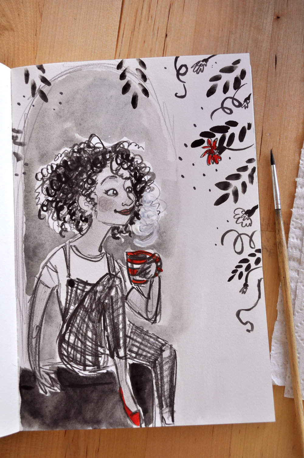 I got a little off-topic with this one, but I couldn't resist a doodle that turned into such fun curly hair! And there are plants there, so it counts...right?