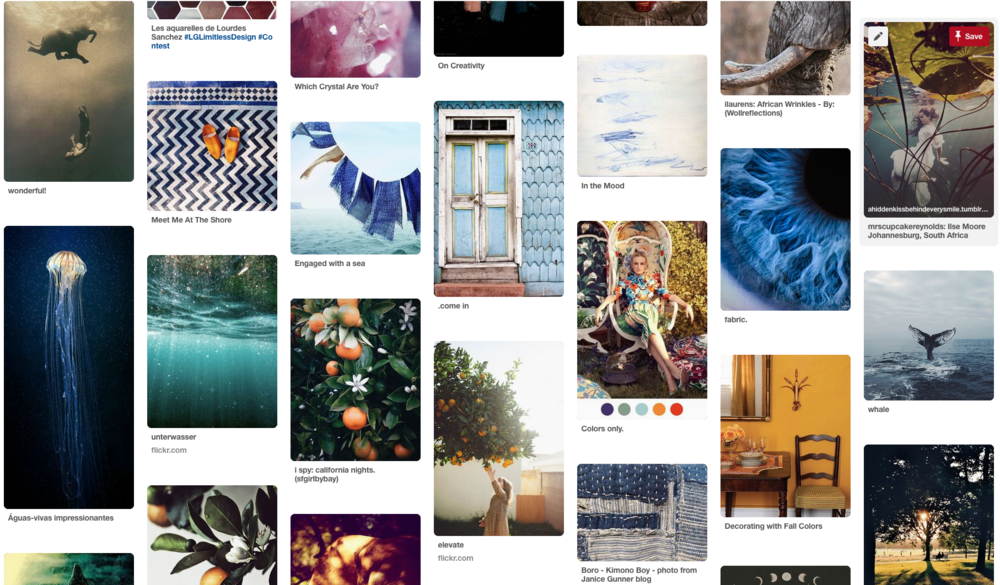 I bit of the Pinterest board I created to pull from. Some of the images here are more because of their colors, some because of the overall feel of them. I just went with my gut while pinning things, only choosing images that really stood out to me for some reason. I tried not to overthink it.