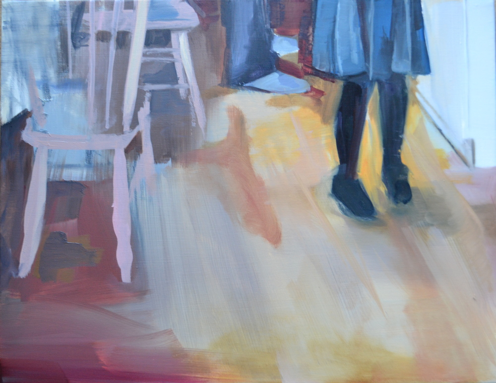 3 Sets of Legs At Breakfast (2015) Oil on Canvas. 35x 45cm. Private Collection. Eileen O'Sullivan
