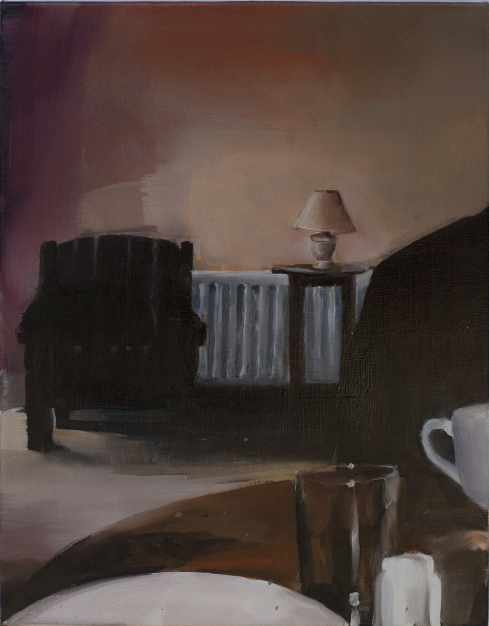 Armchair, Light and Kitchen Table (2015) oil on canvas 40 x 30 cm