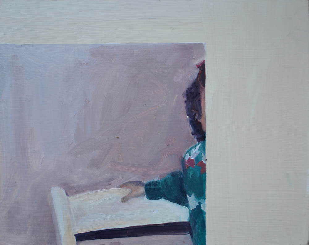 On Chair, Curly Hair. 20 x 25 cm, oil on board.