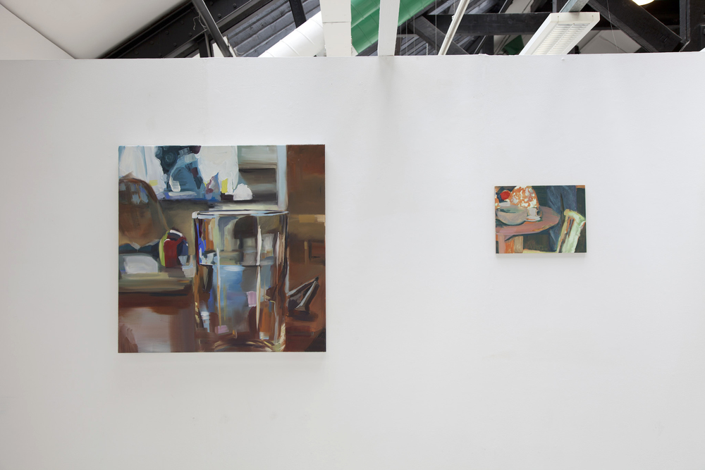 Left to right: Unceremonious (2015) Oil on Canvas, 90x90cm , 'Orange Undercoat' (2015) Oil on board, 39.5 x30cm