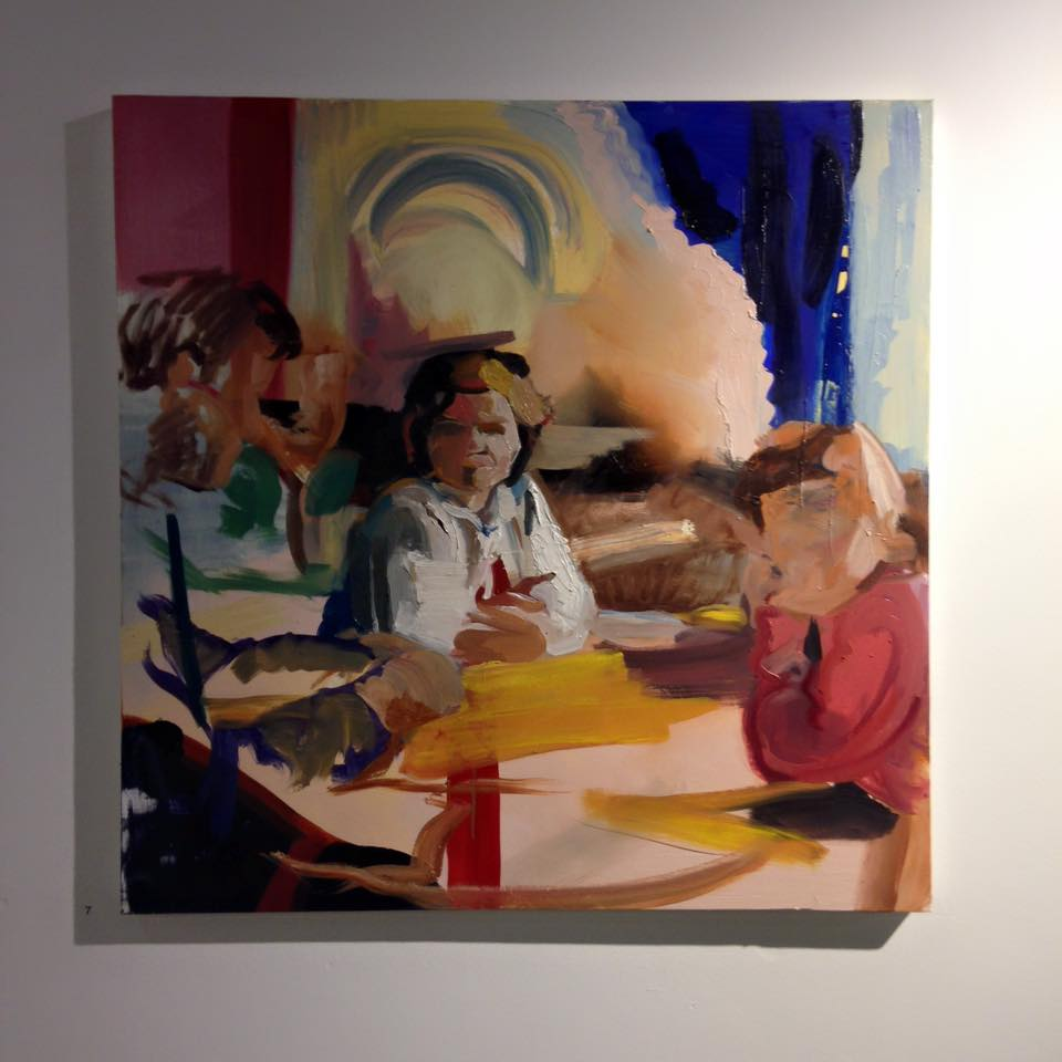 "Eileen O'Sullivan ""Family Gathering"" Oil on Canvas. 100cm x 100cm, Private Collection"