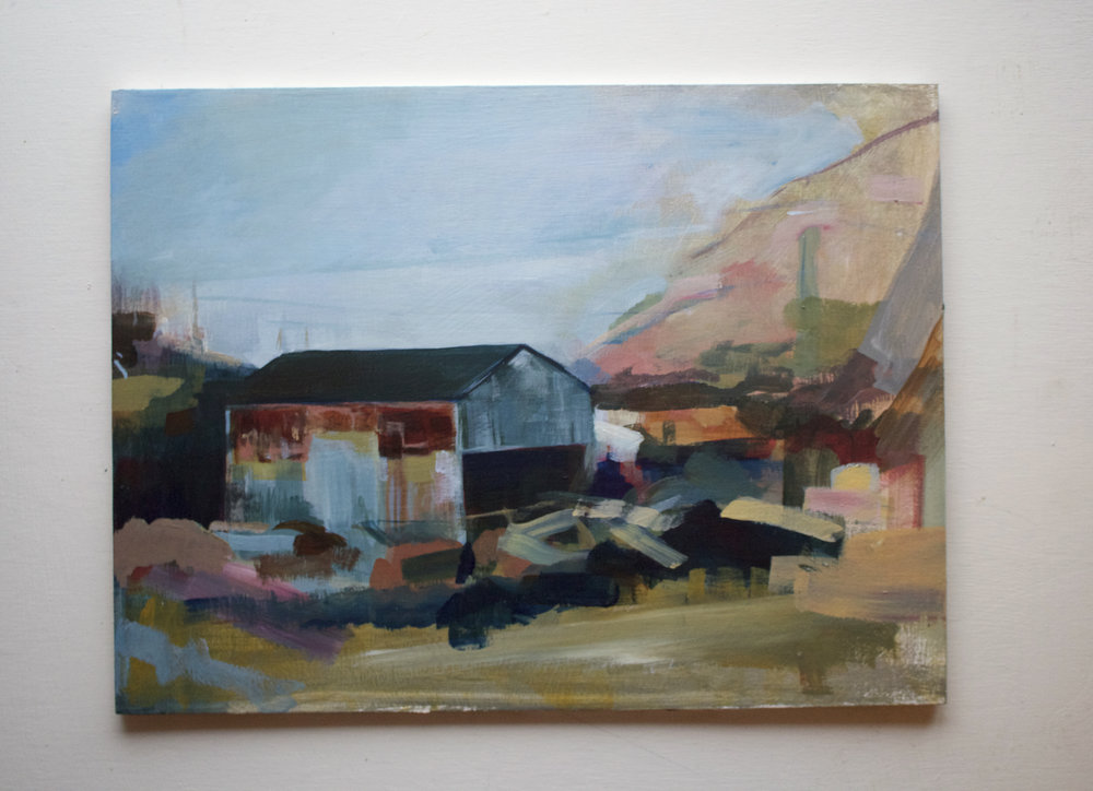 Study of Cill Rialaig landscape. View from the harbour. (2017) Acrylic on board.