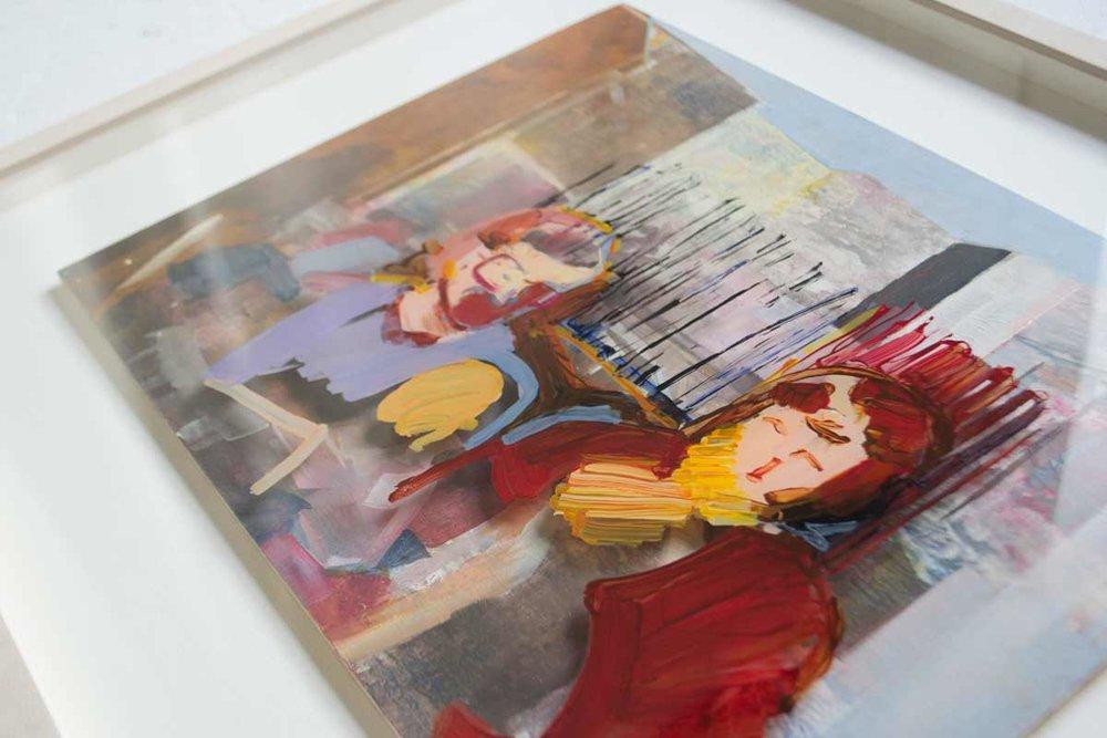 Operating as a team. Acrylic on board, Acrylic on glass, framed 50 x 60cm