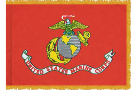 Marine Corps flag with gold fringe