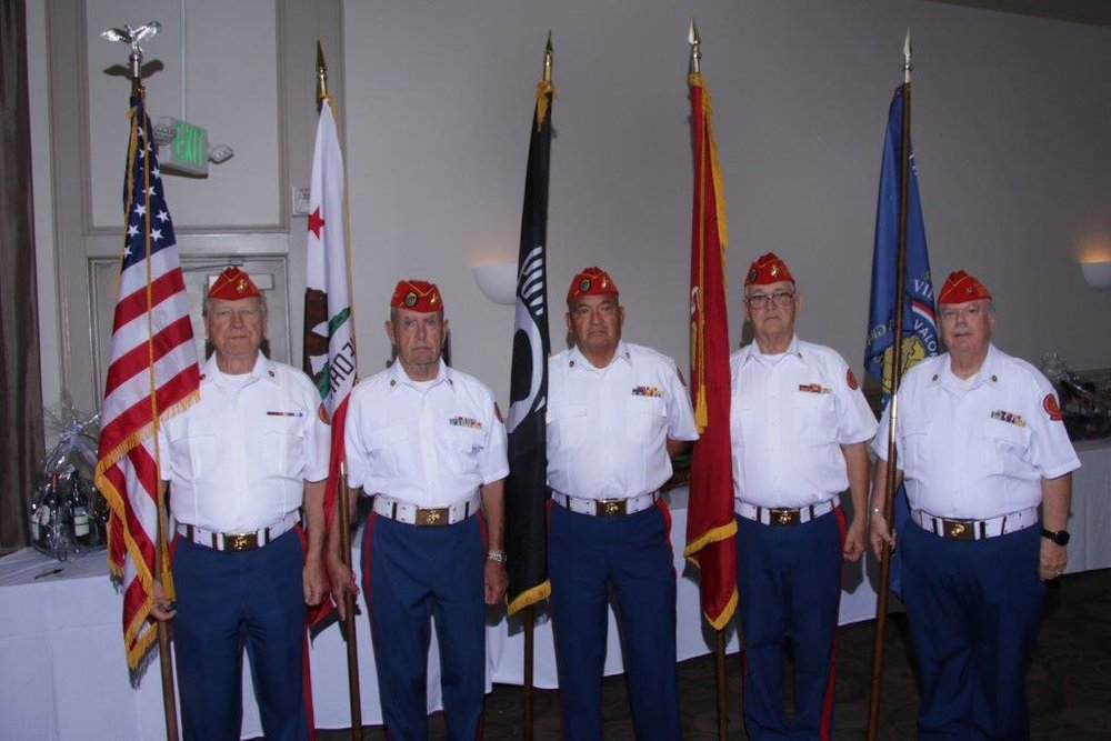 2018   A few members of the Detachments Color Guard.  L/R: Jack Parfitt, John Coley, Fausto Galvan, Ben Pfister and Dave Opfer.