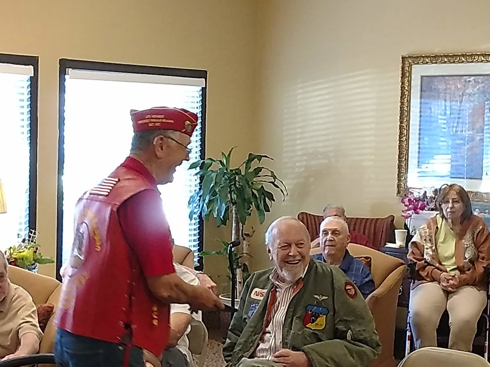 Pound Keeper PDD Ben Pfister speaking with Veterans on 9/22 when MODD Pound 325 visited the Brookdale Senior Living Solutions in Chatsworth.
