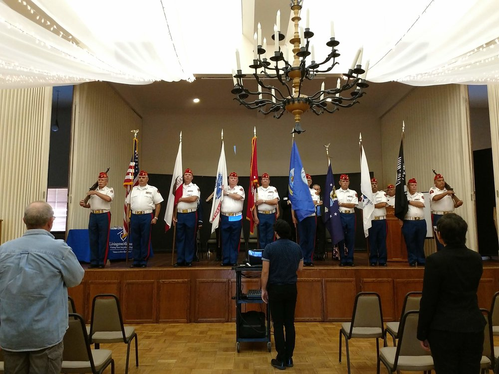 "October 26, 2018 - Color Guard Appreciation Day in Ventura County.   L/R: Larry Fischer, Color Guard Commander Ruy Pena, Jr., Brent Kast,  Dick Jennings, ""Doc"" Honaker, Ben Pfister, John Coley, Harry Hodges,  Dave Opfer and Fausto Galvan."