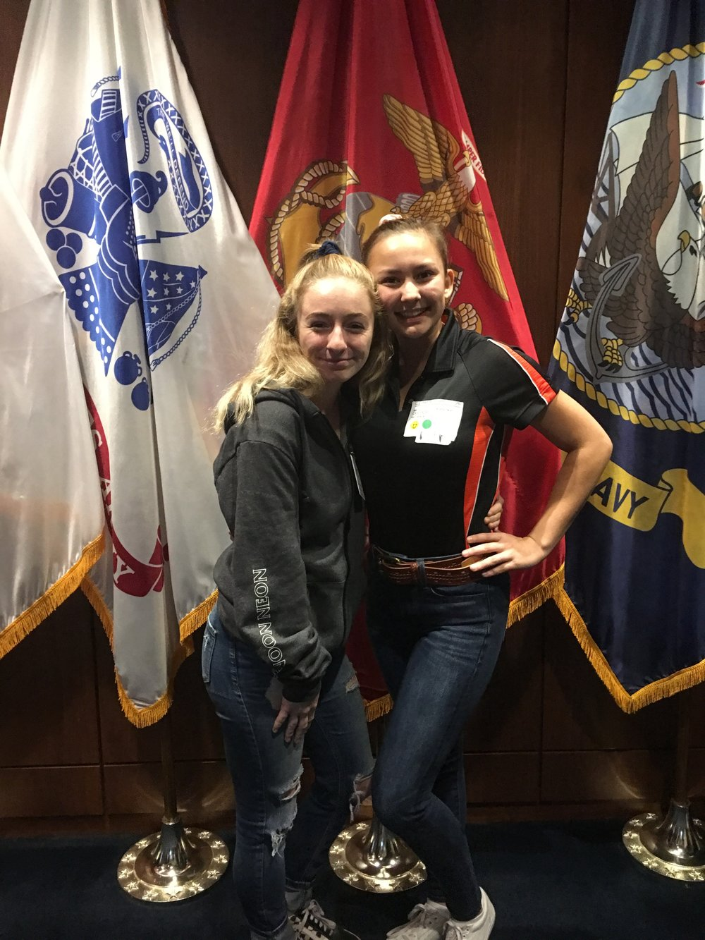 These Two Young Ladies Just Took the Oath for the Marine Corps.   Kathryn Cabuyadao (right), and Katelnne Eber will be reporting to Parris Island in August to start recruit training. Kathryn is the daughter of Loretta Cabuyadao, owner of Kopy Kings.