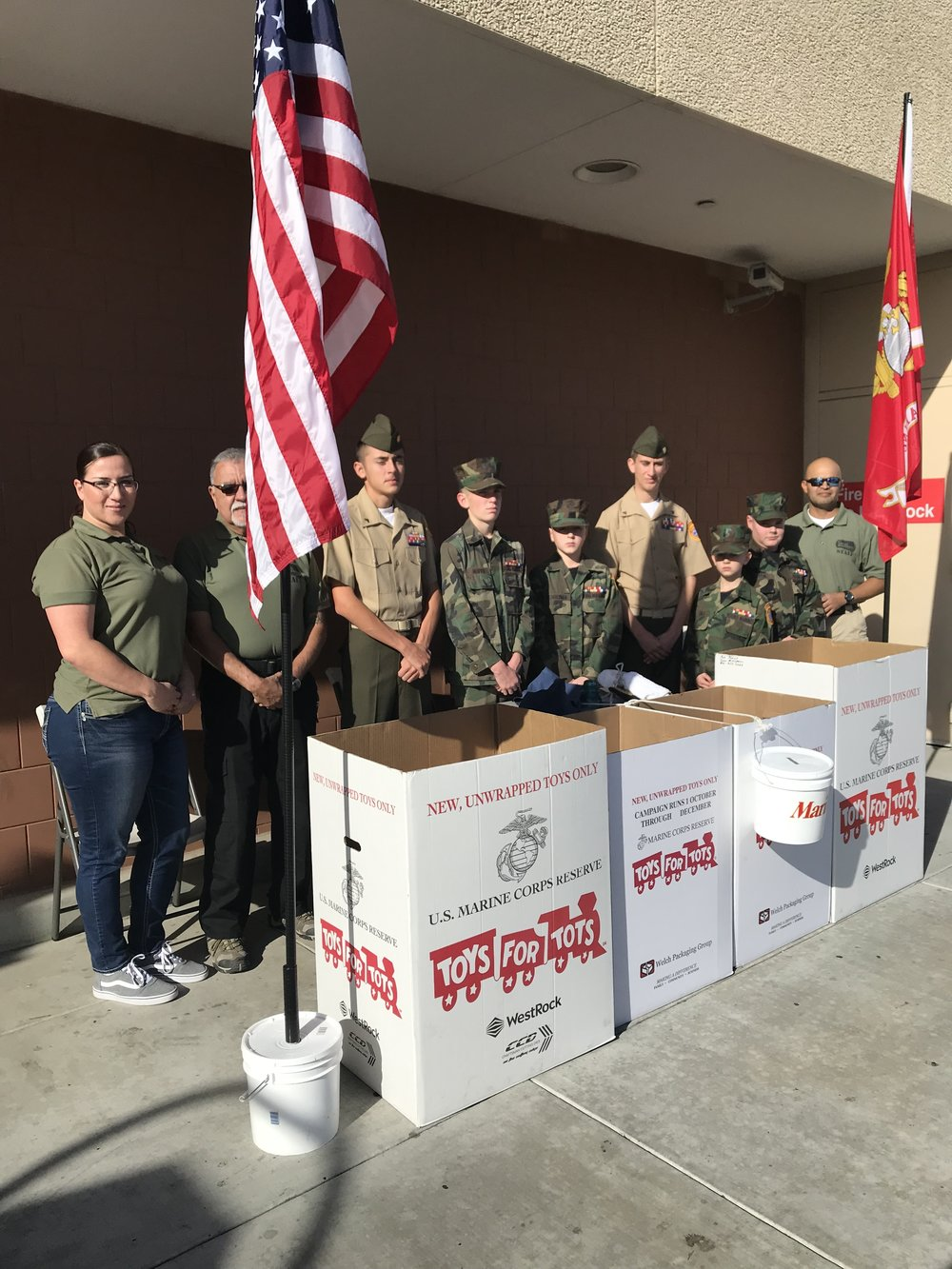 The Young Marines from Santa Clarita man the Toys for Tots collection area on Sunday, December 23 at the Target Store in Simi Valley.