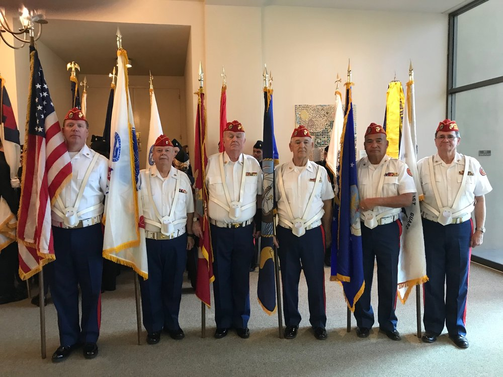 """Color Guard performing at the Annual """"Massing of the Colors"""" at Forest Lawn Veterans Park in Hollywood on Sunday, February 17.   L/R: Brent Kast, Dave Opfer, Dick Jennings, Ben Pfister, Fausto Galvan and Ken Honaker."""