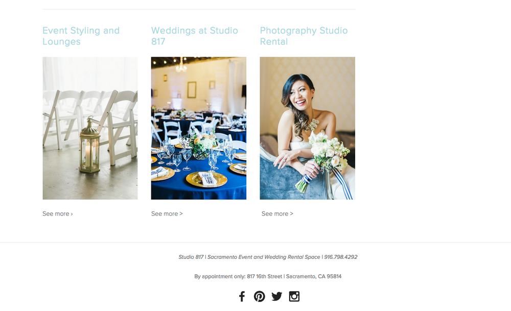 Wedding Venue Website Design by Heather Sharpe of The Editor's Touch | Studio 817 in Sacramento