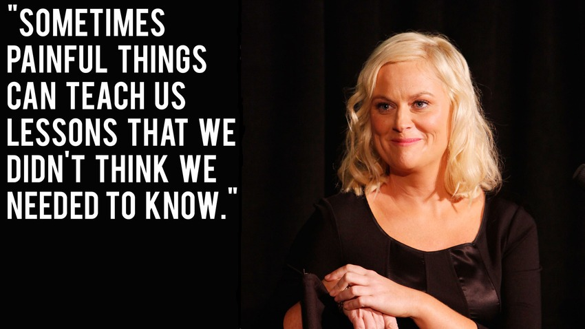 "Amy Poehler Quotes | ""Sometimes painful things can teach us lessons that we didn't think we needed to know."""