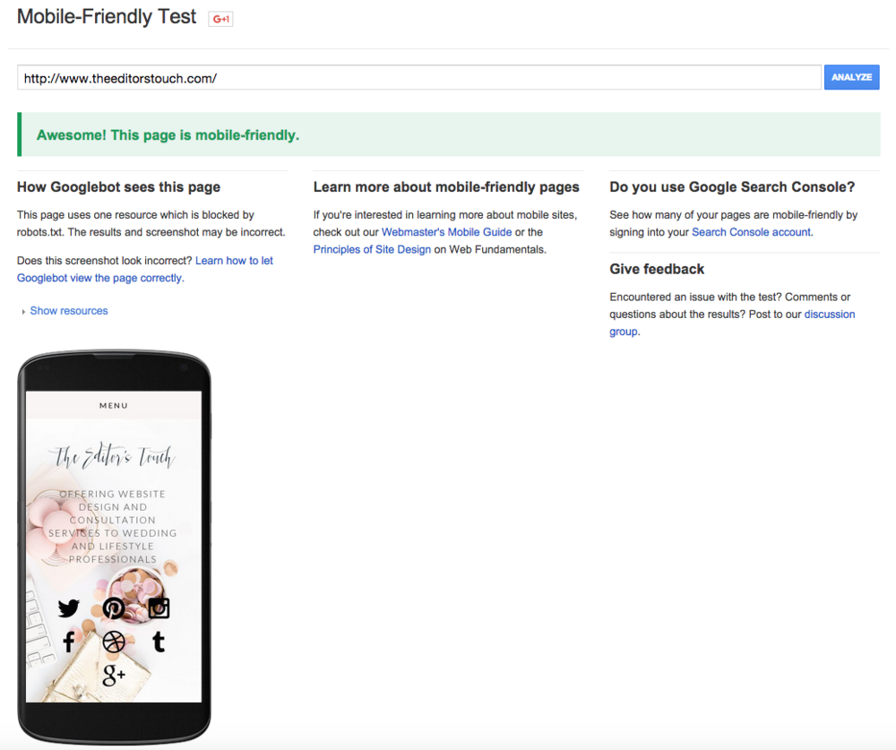 Take The Mobile Optimized Test by Google