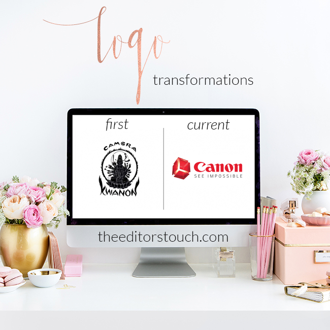 First and Current Logo Transformations | Canon | The Editor's Touch
