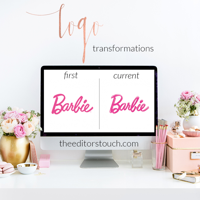 First and Current Logo Transformations | Barbie | The Editor's Touch