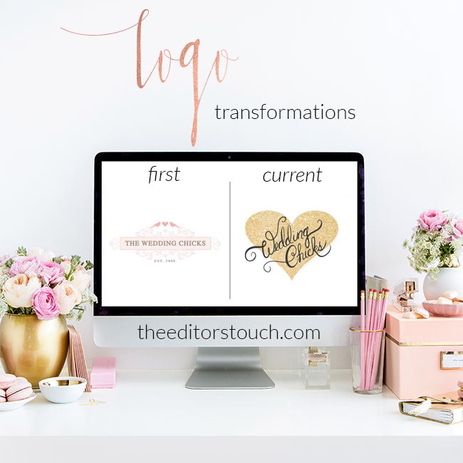 First and Current Logo Transformations | Wedding Chicks | The Editor's Touch