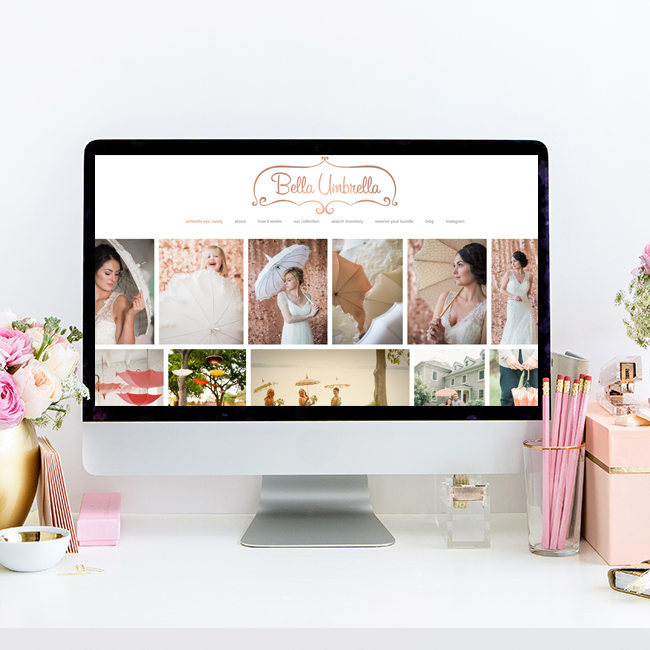 Website Design for Bella Umbrella and Their Vintage Rental Collection | Heather Sharpe of The Editor's Touch