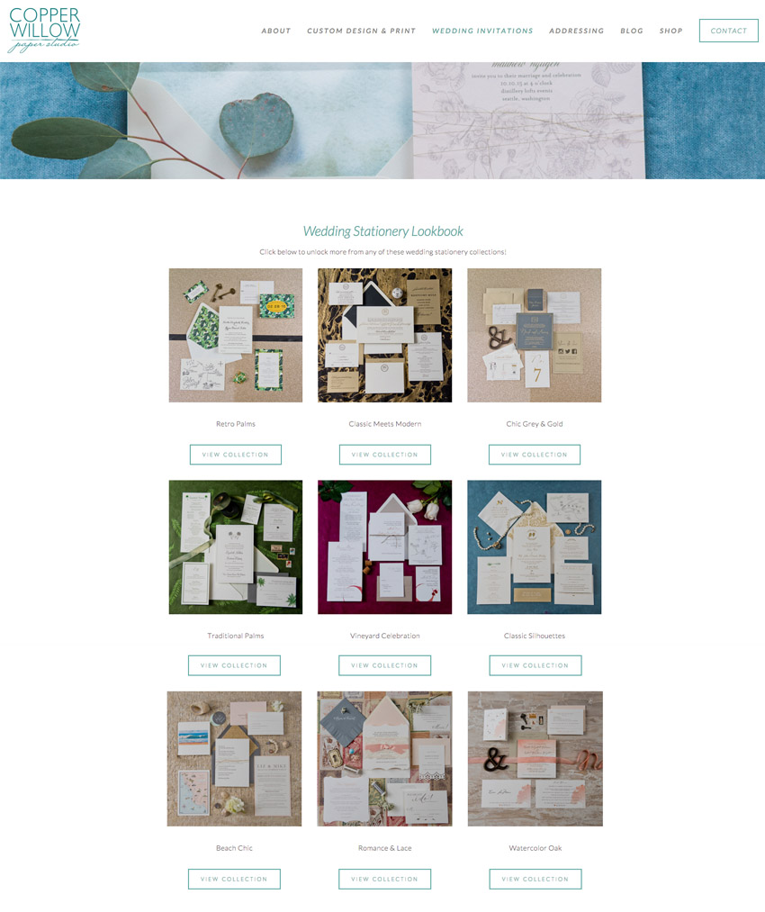Copper Willow Paper Studio Website Design