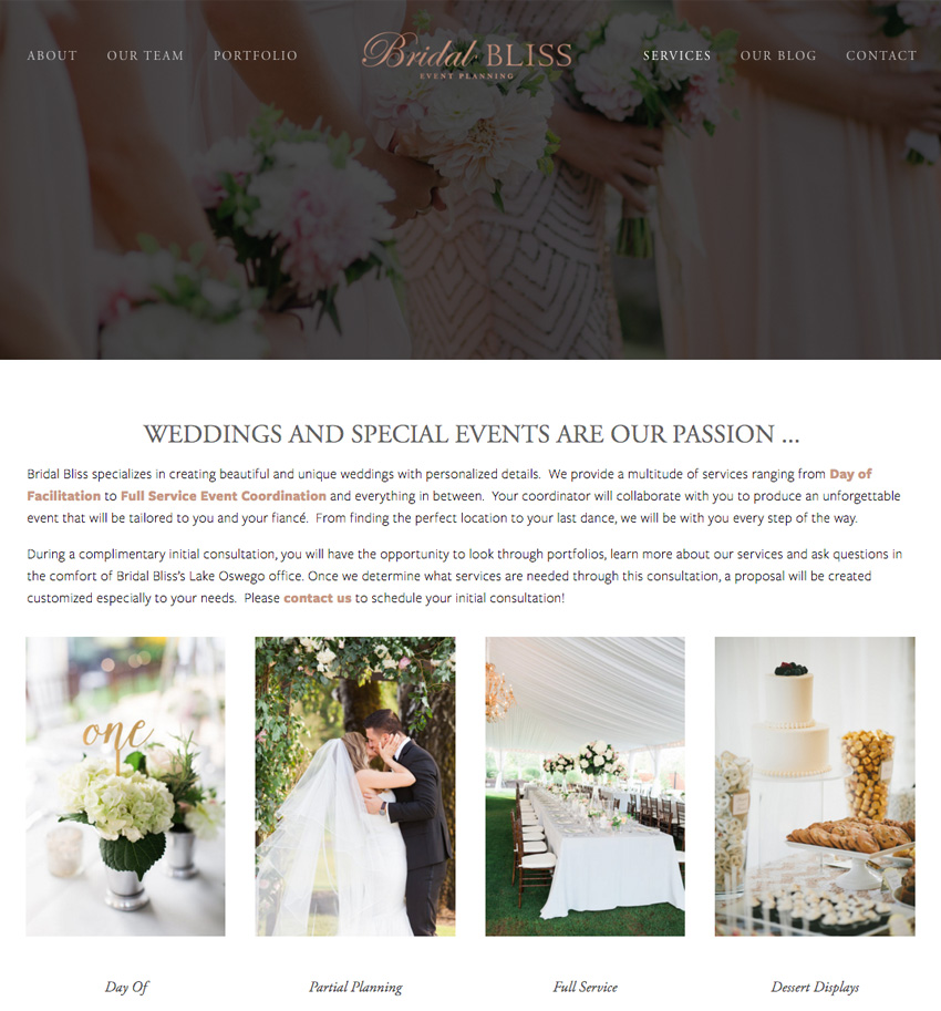 Website Designer for the Bridal Bliss Site | Squarespace Website Design by The Editor's Touch