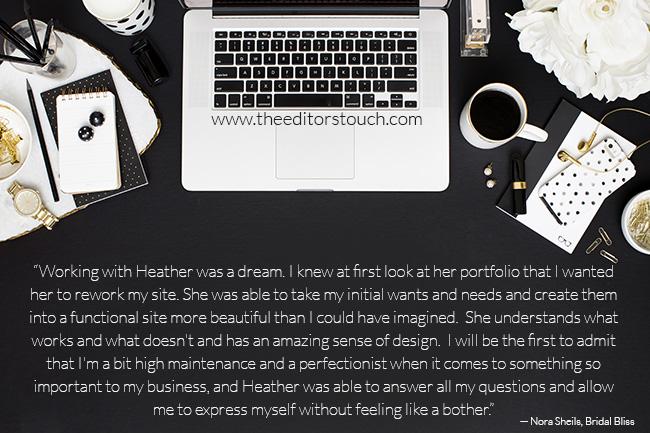 Testimonials for The Editor's Touch | Website Designer Heather Sharpe