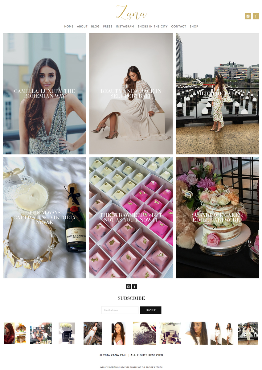 Zana Pali's Fashion and Food Blog Designed by Heather Sharpe of The Editor's Touch