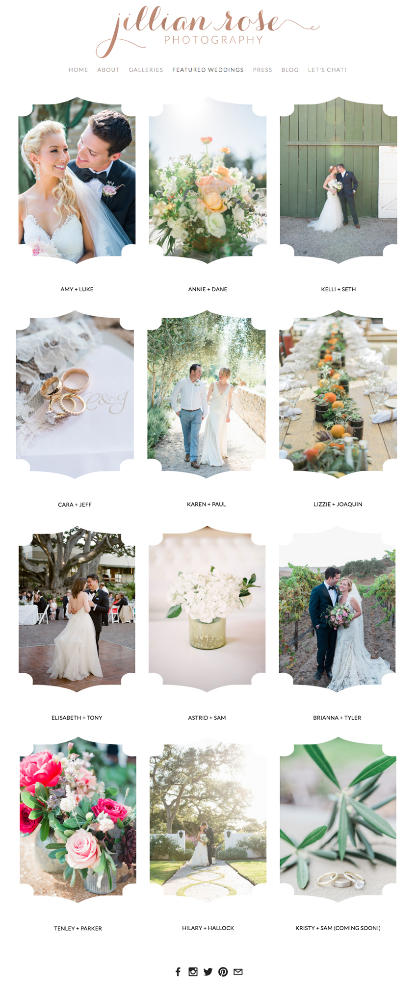 Jillian Rose Photography Website Designer | Squarespace Website Design by Heather Sharpe of The Editor's Touch