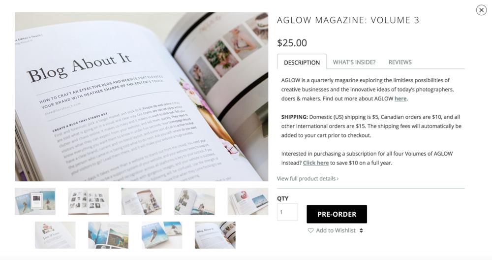 Order AGLOW Magazine Online