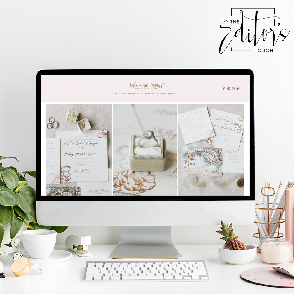 theeditorstouch.com | Squarespace Website Designer for Wedding Professionals and Event Planners | The Editor's Touch | Web Design for Darla Marie Designs