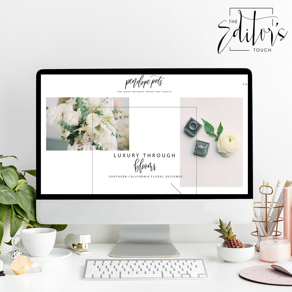 theeditorstouch.com | Website Designer for Penelope Pots Floral Design | Squarespace Web Designer For Wedding Professionals