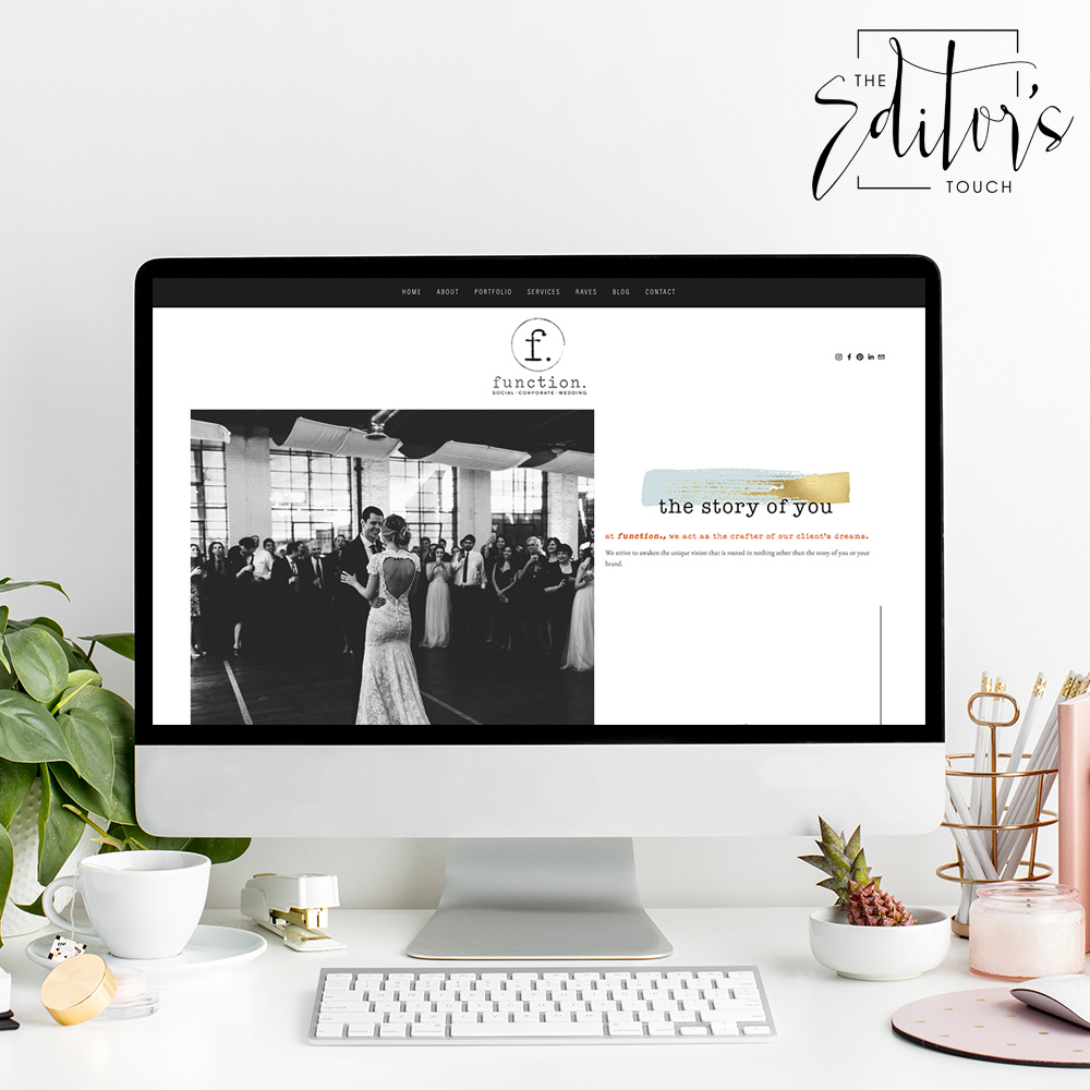 The Editor's Touch Website Design | Squarespace Designer For Wedding Industry Professionals | Our Function