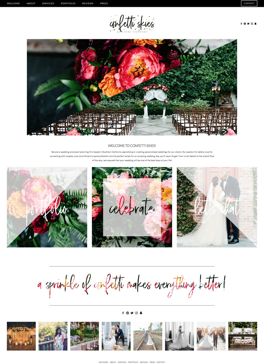 Website Design for Confetti Skies | The Editor's Touch