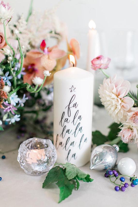 Fa-la-la-la - Calligraphy Christmas Candle
