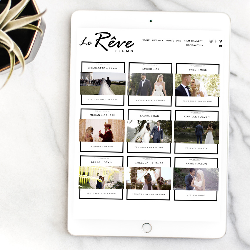 theeditorstouch.com | Le Reve Films Website Designer | Squarespace Web Design for Wedding Professionals and Creatives | The Editor's Touch