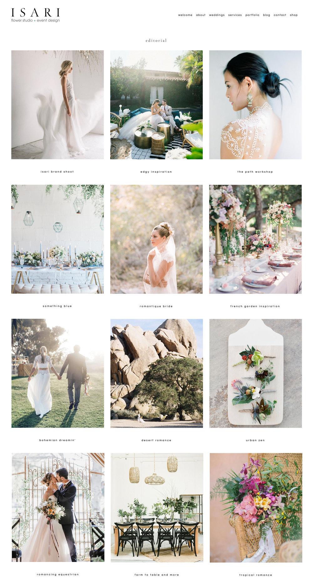Isari Flower Studio Website   The Editor's Touch Squarespace Website Designer   Wedding Industry Expert
