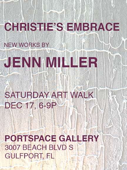 Jenn Ryann Miller is a visual artist working in a variety of material and medium. Miller creates abstract sculpture and painting that explores materiality and aesthetics. With a background in functional ceramics, her work subverts tradition and process through the experimentation with oblique materials and forms. Miller has been part of numerous solo and group exhibitions in Florida and the United States. Originally from Connecticut, she received a BFA from the University of Connecticut and MFA from the University of South Florida.  The work exists as a companion to the complexities of human nature. It is an expanded exploration of material and the formal elements of painting and sculpture. Imbued with a sense of casual informality the viewer's expectations of line and pattern are subverted by the imperfections of application. The marks straddle a line between accidental and intentional while their repetition implies a sense of impulsion. The painted lines float in layers of resin, allowing the compositions to become literal objects. The work utilizes a variety of elements to speak about the function of material in contemporary culture. The work defies the conventions of material specificity and explores domesticity and decoration. An exploration of craft, of a connection to and superiority of the hand-made contradicts the commercial and manufactured qualities of the materials that are present in the work. The beige, corals and teals found throughout the work are drawn not only from an industrial palette, but also chosen for their dated associations with 1970's interiors. Combined with the ambiguously natural forms, the work is simultaneously familiar and confrontational. It is gaudy, decorative and objectionable, while remaining reserved, formal and appealing. This duality is the focus of the work, and the tension it creates allows the viewer to question their understanding of craft, material and aesthetics.