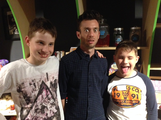 Hayden (left) and Nicholas (right), with storyteller Matt Roden. The boys' father, Andrew, has noticed improvements in their confidence, handwriting, and vocabulary since they've been coming to Sydney Story Factory workshops.