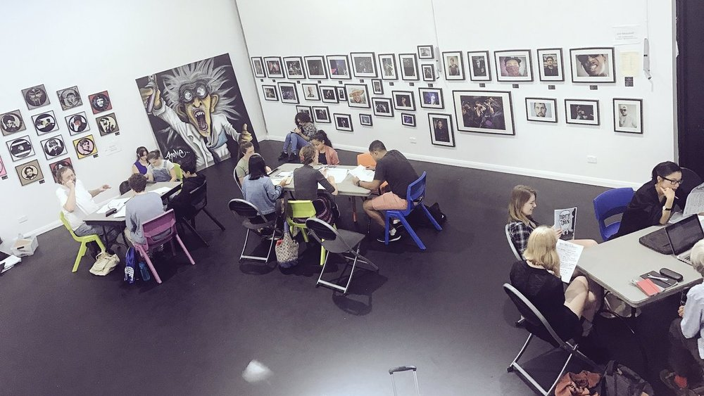 Students work hard honing their manuscripts at the Bankstown Arts Centre in 2017.