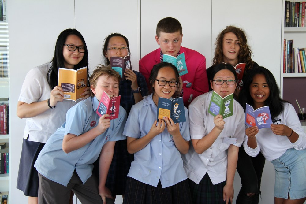 Students launch their freshly published novellas in 2016.