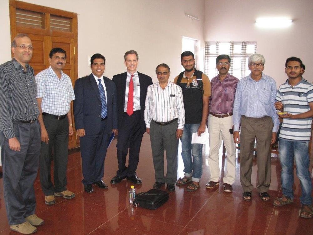 David Wiebers, M.D., with Professors at Mangalore University.