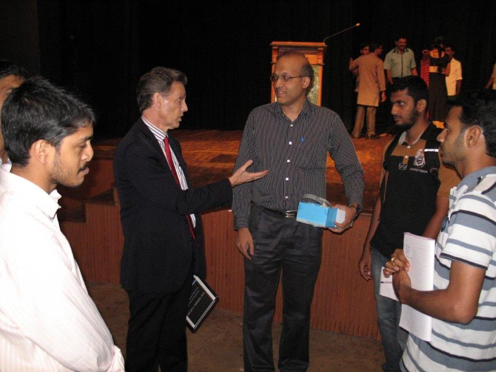 David Wiebers, M.D.,during Q&A session after the Theory of Reality presentation at Mangalore University.