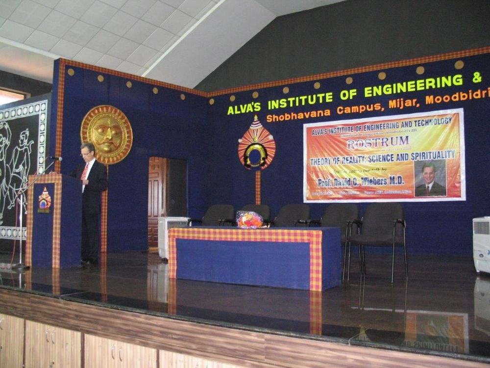 David Wiebers, M.D., at the podium at Alva's Institute of Engineering &Technology  outside of  Mangalore, India.