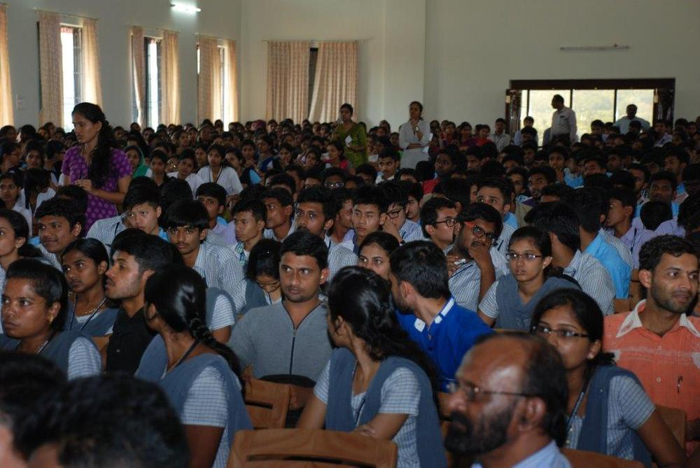 Audience members at the Theory of Reality lecture at  Alva's  Institute of Engineering &  Technology   outside of  Mangalore, India.