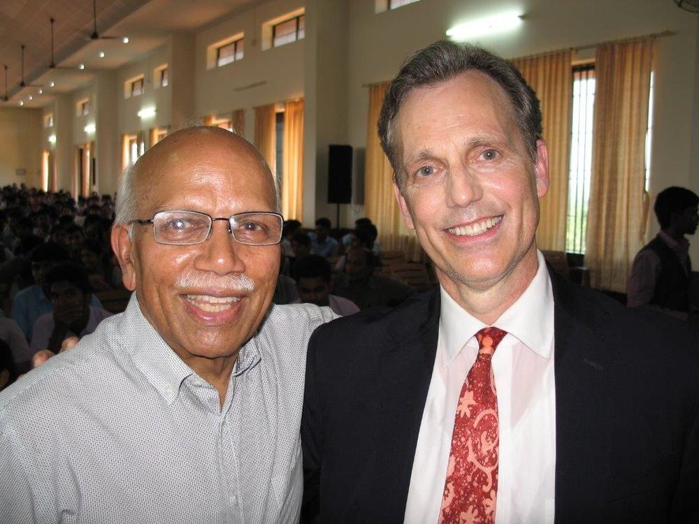 David Wiebers, M.D., with Cardiologist friend Professor Monappa Hegde  at   Alva's  Institute of Engineering &  Technology   outside of  Mangalore, India.