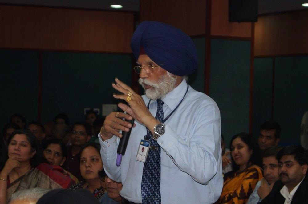 Audience member during Q&A session after the Theory of Reality presentation at Amity University Delhi campus on November 9, 2015.