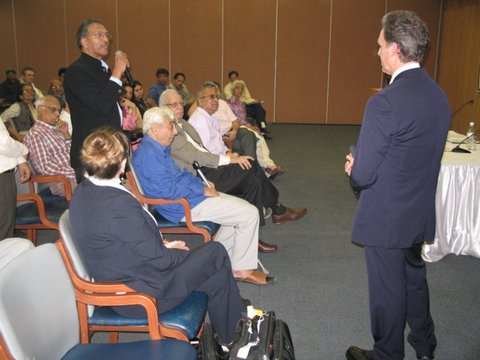 David Wiebers, M.D., answering question from head of the Bahai Temple in Delhi, India, November 10,2015.