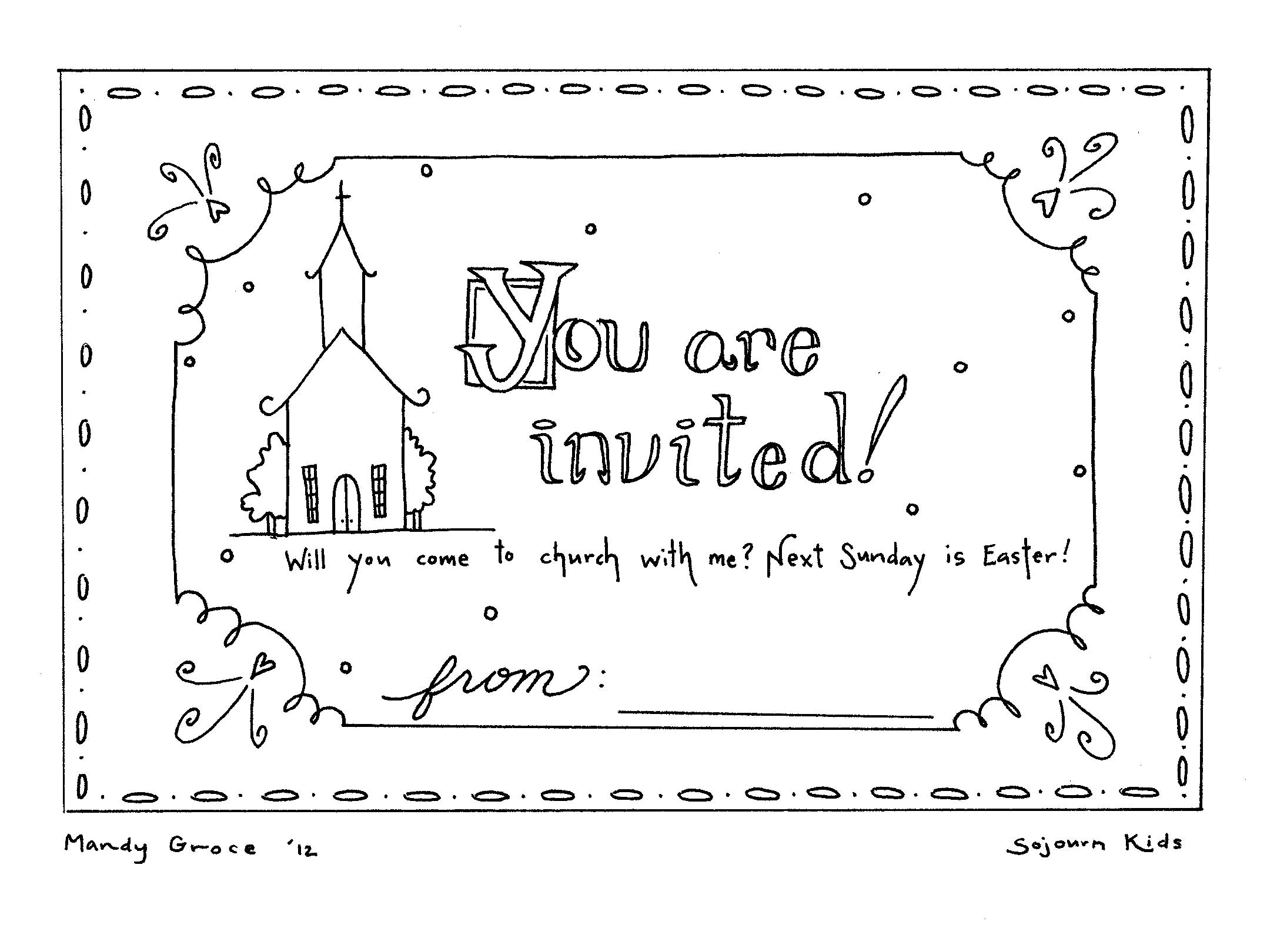 Easter Sunday Invitation Coloring Pages — SojournKids