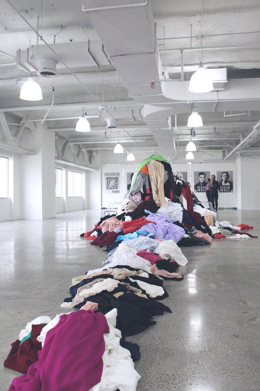 Trash Queen art installation at Vegan Fashion Week