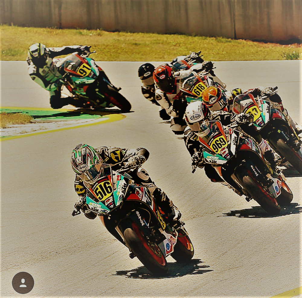 Anthony Mazziotto III leading the pack at one of the MotoAmerica rounds